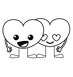 Line tender hearts couple kawaii cartoons vector