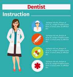 Medical equipment instruction for dentist vector