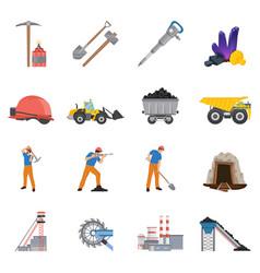Minerals mining flat icons set vector