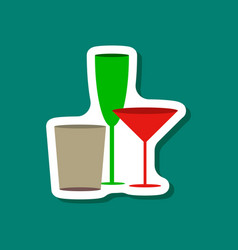 paper sticker cocktail glasses vector image