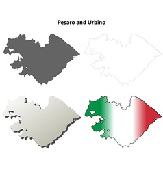 Pesaro and Urbino blank detailed outline map set vector image