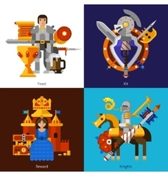 Set of 2x2 knight images vector