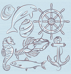 set of summer symbols ship rudderanchor vector image