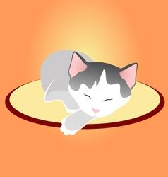 Sleeping kitten on soft cover in silence vector