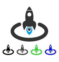 Space rocket launch area flat icon vector
