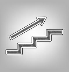 Stair with arrow pencil sketch imitation vector