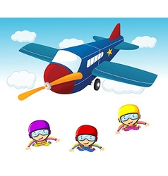 Three sky divers jumping out the airplane vector image