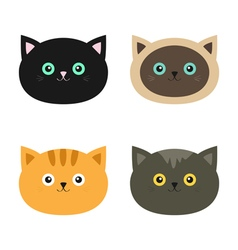 Cat head set siamese red black orange gray color vector