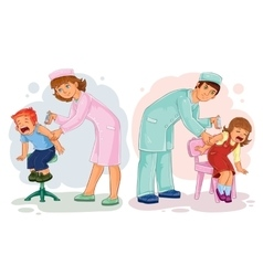Set of little children vaccinations vector