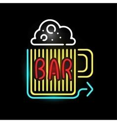 Light neon bar label vector image