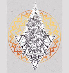 Rose flower with sacred geometry vector