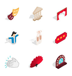 Ballet icons isometric 3d style vector
