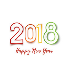 Happy new year 2018 colorful paper design pn vector