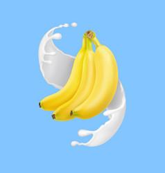 Banana in milk splash or yogurt realistic vector