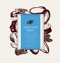 Processed meat - hand drawn square postcard vector