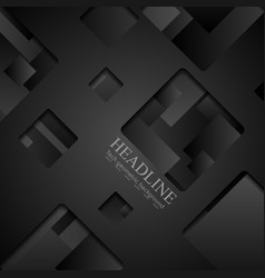Abstract black squares tech background vector