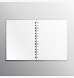 Open book or diary mockup with spiral binding vector