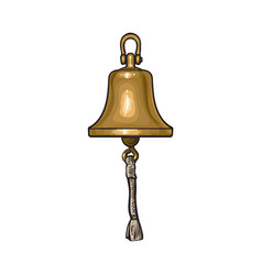 Antique brass copper ship bell with rope vector