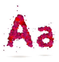 Letter A made from hearts Love alphabet vector image