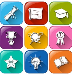 Buttons with certificates and awards vector