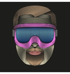 Creative retro artwork of symbol skier or vector