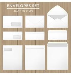 Three white envelopes set vector