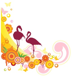 Summer background with flamingo and flowers vector
