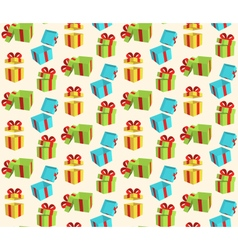 Seamless pattern with gift boxes isolated on beige vector
