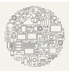Gadgets and devices line icons set circle shape vector