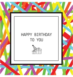 Happy birthday greeting card with ribbons and line vector