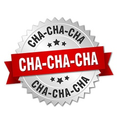 Cha-cha-cha 3d silver badge with red ribbon vector