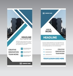 Blue triangle business roll up banner templates vector