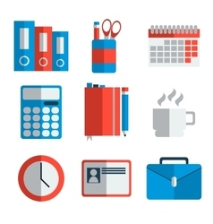 Office equipment flat icon set vector