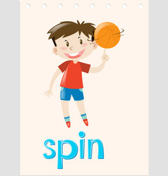 Action wordcard with boy spinning ball vector