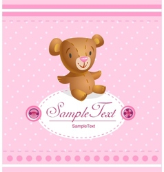 Baby arrival card for baby girl vector