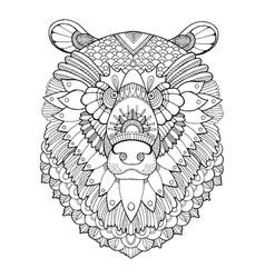 bear head coloring book vector image vector image