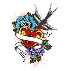 Bird heart and rose tattoo vector