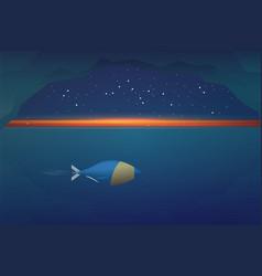 Cartoon submarine floats underwater at sunset vector