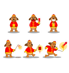 Chinese new year dog character vector