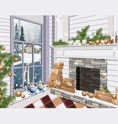 christmas decor living room interior holidays vector image
