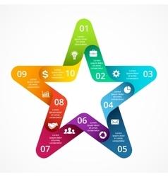 Circle arrows color star symbol infographic vector