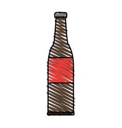 Color crayon stripe cartoon bottle glass of beer vector