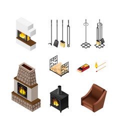 Fireplace isometric elements set vector