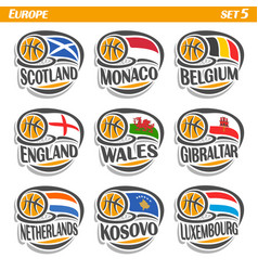 Flags of european national basketball teams vector