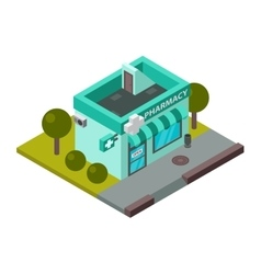 Isometric pharmacy building vector