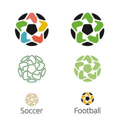 Logo with a soccer ball with hands like a star vector