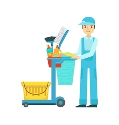 Man with cart filled with special equipment and vector