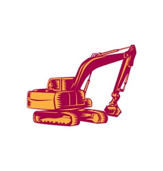 Mechanical digger excavator woodcut vector