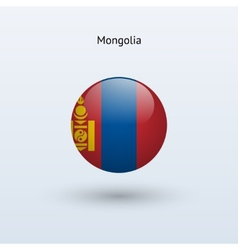 Mongolia round flag vector image vector image