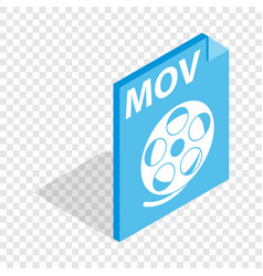 Mov video file extension isometric icon vector